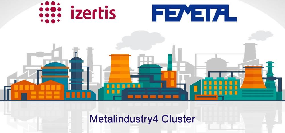 Abstract image with drawings related to the industry, printed logos of Izertis and Femetal and text 'Cúster MetalIndustry4'