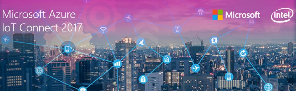 Image with urban background similar to New York, printed logos of Microsoft and Intel and labeled 'Microsoft Azure IoT Connect 2017'