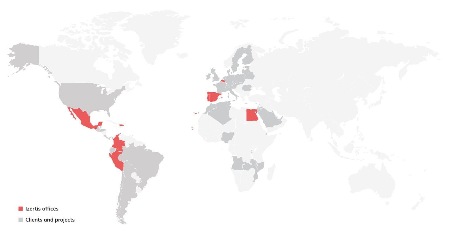 Mapa mundial de presencia de Izertis